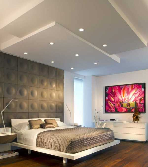 Потолок из гипсокартона в спальне: особенности, плюсы и минусы, фото