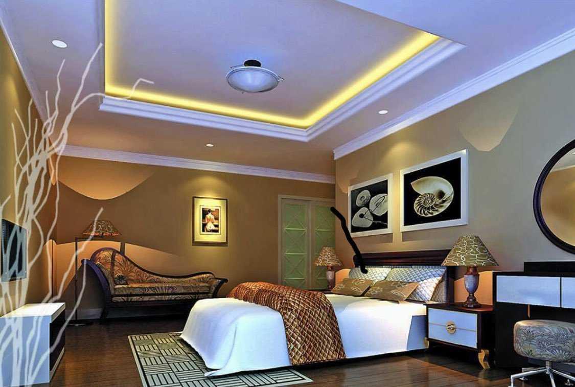 Потолки из гипсокартона в спальне Их виды дизайн правила установки освещения Фото-примеры потолков