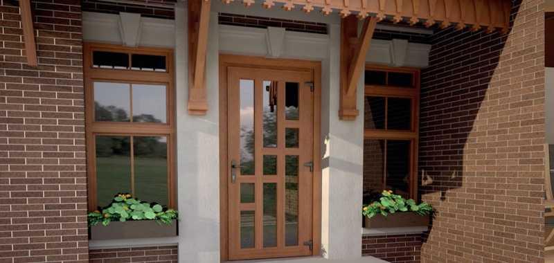 Входные стеклянные двери для коттеджа, частного дома