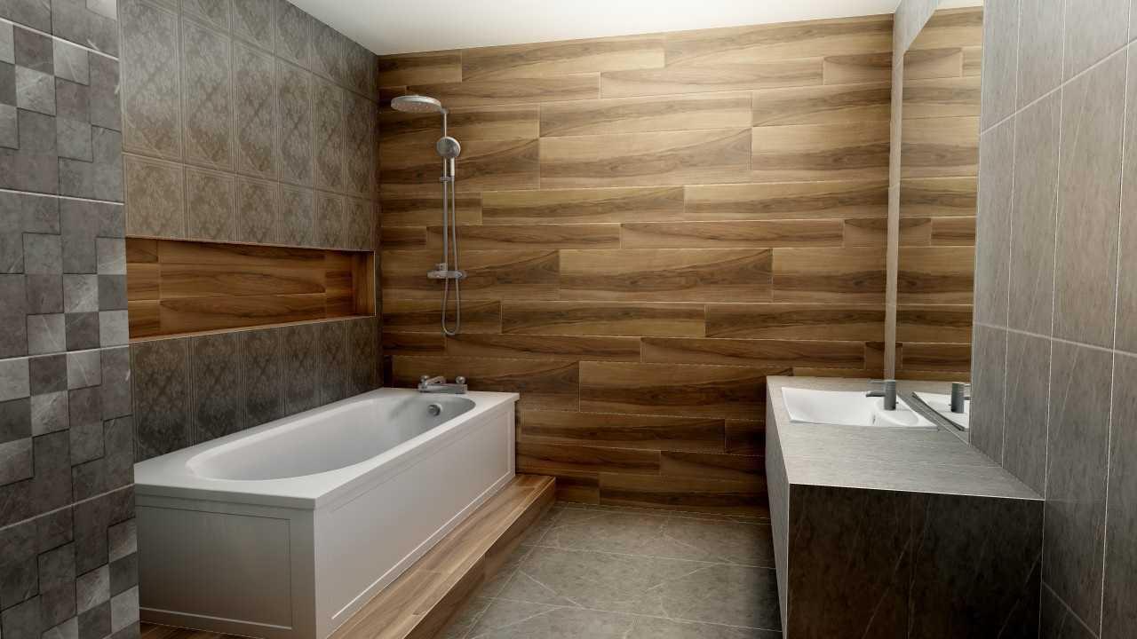 Плитка под дерево на стену в ванную — особенности и дизайн