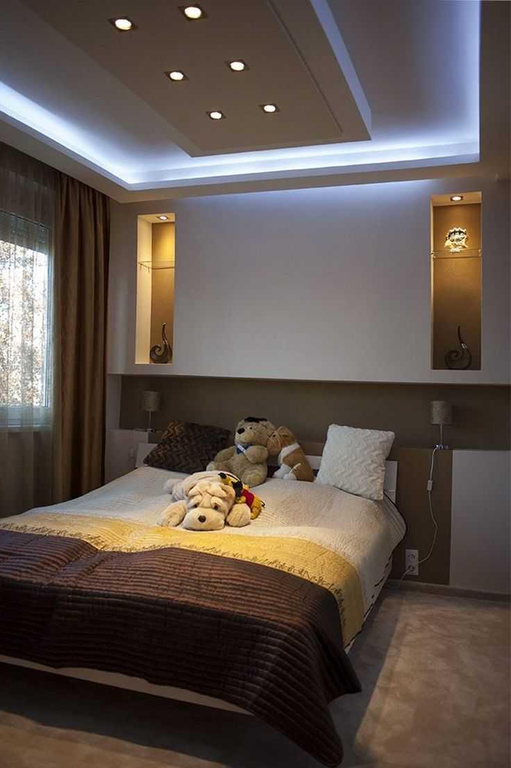 Потолок из гипсокартона в спальне - фото различных вариантов дизайна