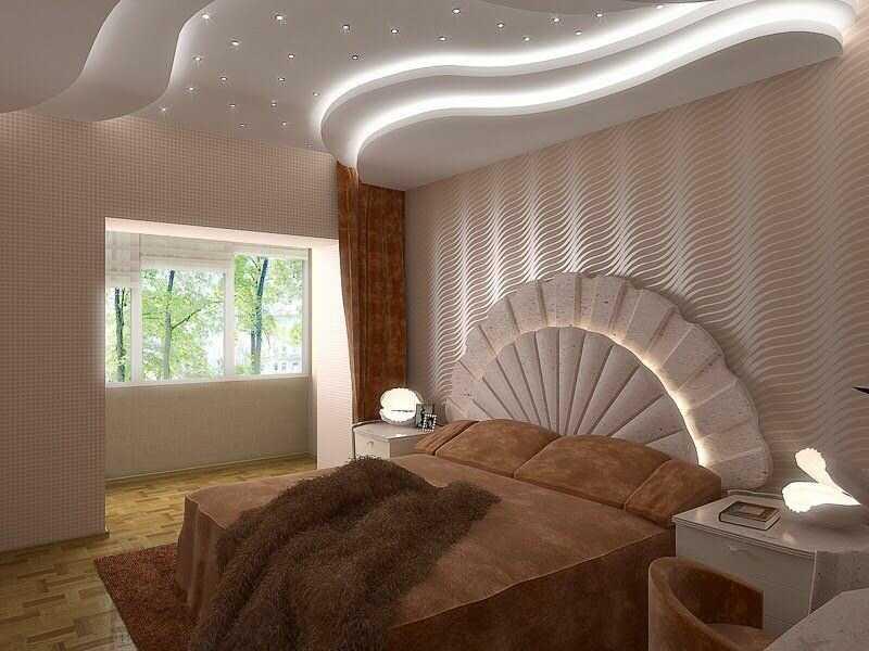 Потолок в спальне из гипсокартона, фото вариантов