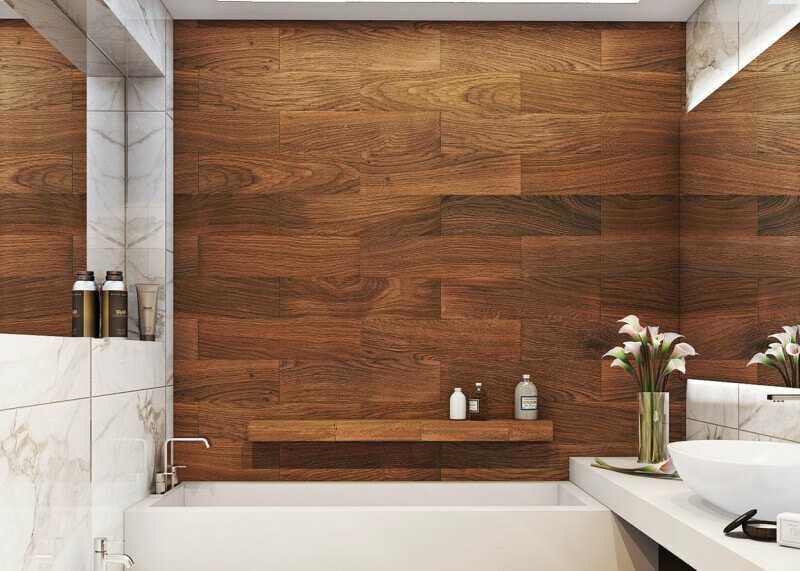 Ванная под дерево (42 фото): дизайн серой комнаты, отделка керамогранитом, камнем и бетоном, варианты в интерьере