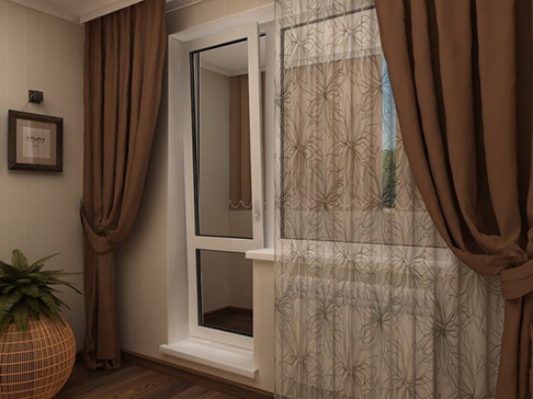 Шторы на кухню с балконной дверью