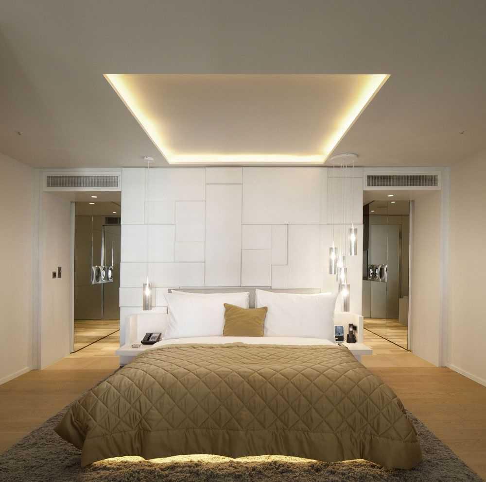 Потолки из гипсокартона в спальне - фото дизйана интерьеров