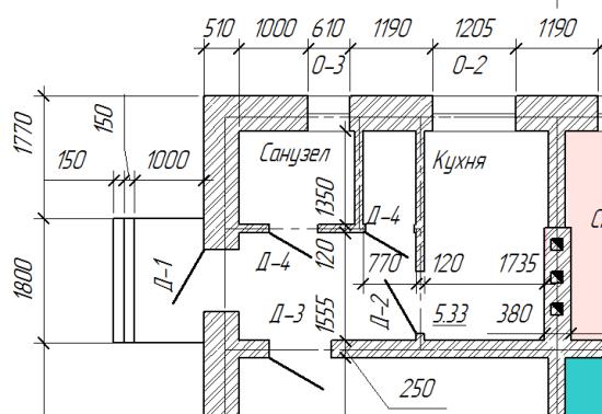 Правила обозначения дверей на чертежах по ГОСТу