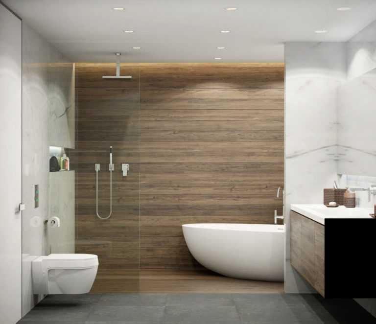 Плитка под дерево в интерьере ванной: варианты отделки и особенности выбора